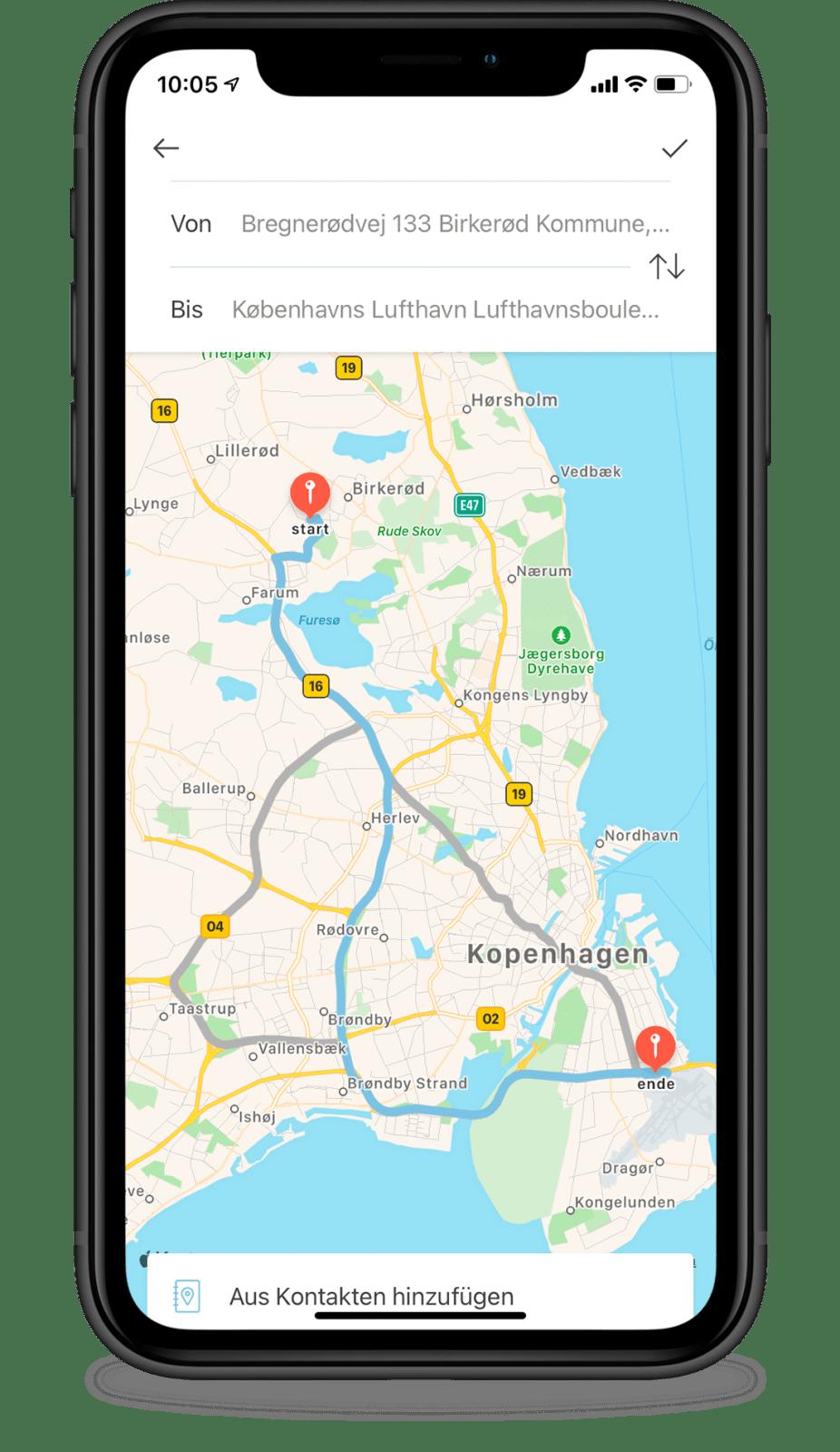 Geben Sie die Route manuell über Google Maps in Acubiz ein.